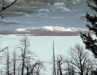 photo of Lake Yellowstone, frozen over, processed as tricolor, Yellowstone National Park