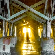 photo under the Daytona Beach Pier at Sunrise