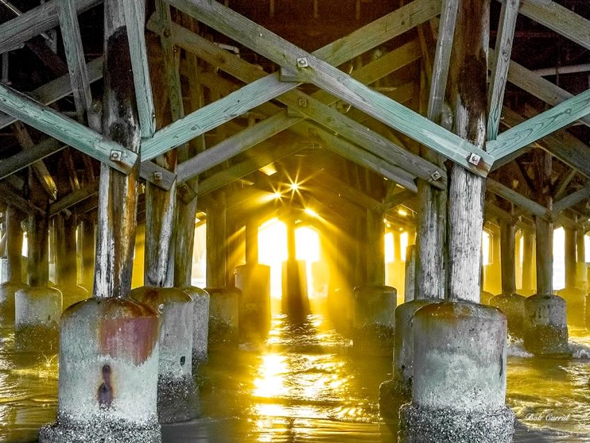 photo under the Daytona Beach Pier at Sunrise