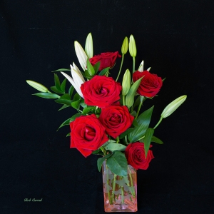8 Shot photo stack of Roses and Lily Buds